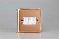 Varilight Classic Polished Copper 3-Gang 10A 1- or 2-Way Rocker Switch with White Insert